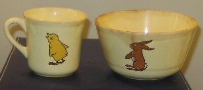 Antique Pottery Child's Bowl and Cup with animal designs Rabbit Chick Dog Lamb
