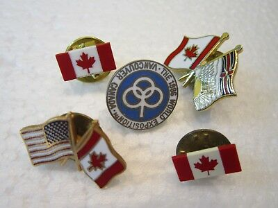 5 Metal Pin Back Canada Souvenir 1986 World Expo Vancouver Red Leaf Usa Flag