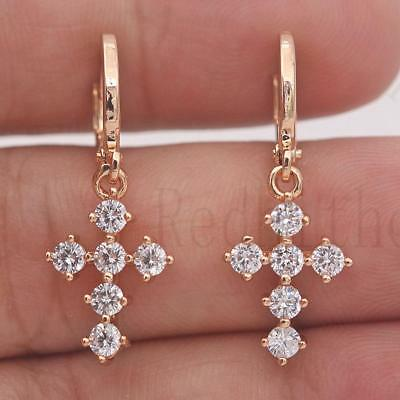 18K Gold Filled - Vogue Round Cross Topaz Zircon Lady Gemstone Dangle Earrings