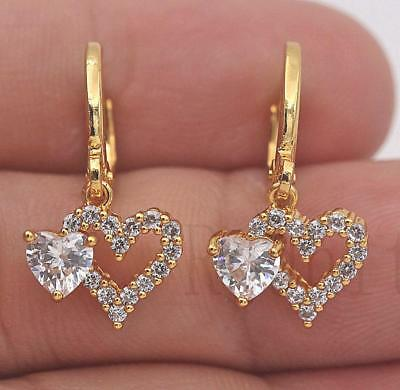 18K Gold Filled- Hollow Sweet Double Heart Topaz Zircon Party Hoop Lady Earrings