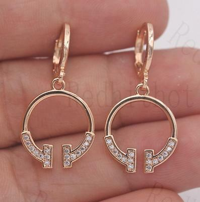 18K Gold Filled - Hollow Circle Topaz Rectangle Geometry Women Hoop Gem Earrings