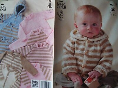 """King Cole 2821 Baby's Sweaters and Cardigans DK Knitting Pattern Size 12-24"""""""