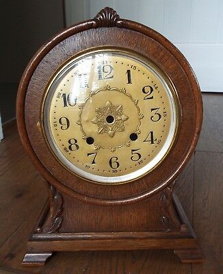 Antique Oak Mantel Clock For Repair Restoration or Parts