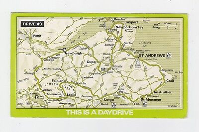 Used Map Postcard AA Daydrive Drive 49 St Andrews, Scotland