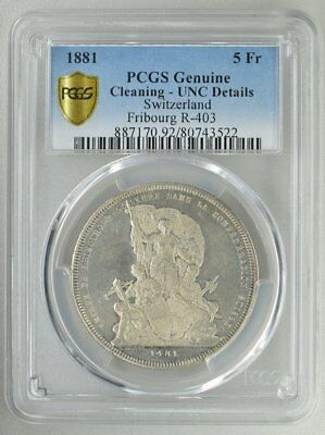 Switzerland-Fribourg  5 Francs 1881  PCGS  Genuine-UNI Details