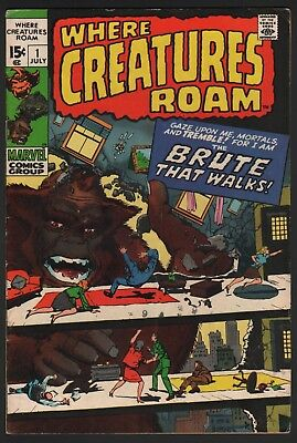 Where Creatures Roam #1 1970 Kirby Ditko Marvel Bronze Age First Issue!