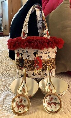 6 Vintage Hand-painted Chinese Rice Bowls/Dipping Bowls/Spoons/Gold Inlay/Tote!