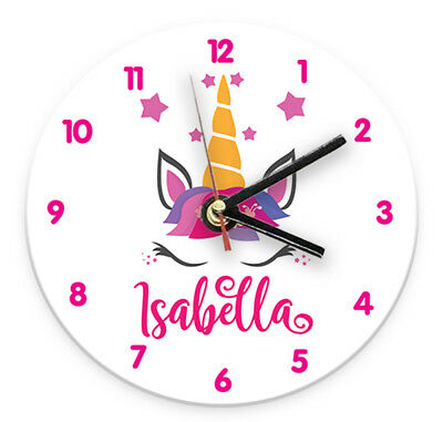 Personalised Any Name Unicorn Wall Clock Printed Gift Present Kids Bedroom 1