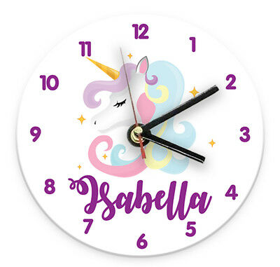 Personalised Any Name Unicorn Wall Clock Printed Gift Present Kids Bedroom 3