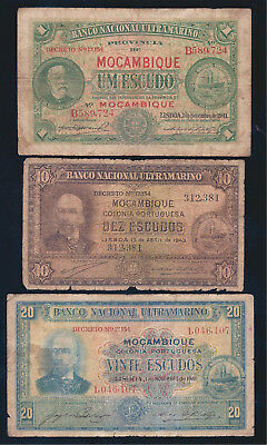 Mozambique, 1941-3, 1 - 20 Ecudos, 3 Notes, LOW GRADE!