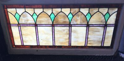 "Antique Stained Leaded Glass Transom Window 52"" by 25"""