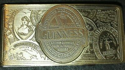 Quality Authentic Guinness Old Style Etched Brass Money Clip Memorabilia...