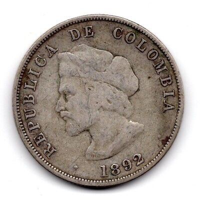 1892 Colombia Republic 50 Centavos Silver Coin