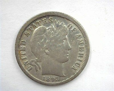 1893-O Barber Silver 10 Cents  Extra Fine  Rare! Keydate!