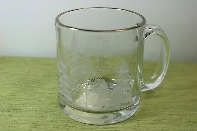 Libbey White Winter Frosted Trees Coffee Mug Gold Rim Arby's