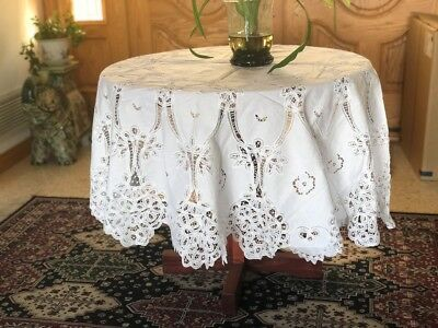 """LIM'S Vintage Battenberg Lace & Embroidery Tablecloth 72""""X 72"""" Round Color White"""
