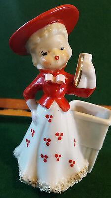 Vintage Metasco Toothpick Girl Red Hat Dress Pink Bow Glitter