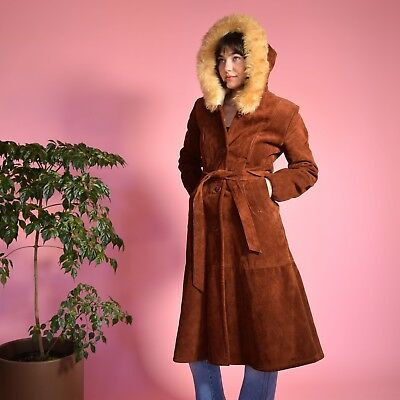 Vtg 70s tobacco suede leather PRINCESS belted SHEARLING hooded hippie jacket S/M