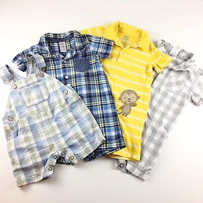 4 Piece Boys Clothing Bundle One Piece Rompers Overalls Plaid Striped