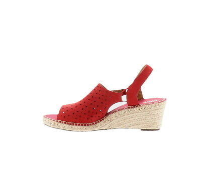 dab6b03a923 Clarks Artisan Leather Espadrille Wedge Sandals Petrina Gail Red 11W NEW  A288200