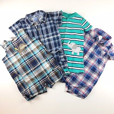 4 Piece Baby Clothing Bundle Boys Size 12 Months Rompers Overalls Plaid