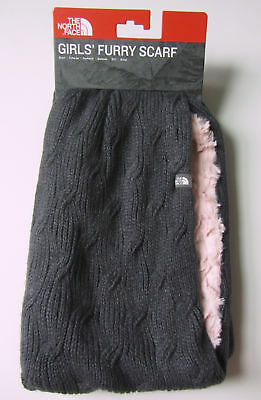 New North Face Girls Furry Scarf Knit Grey Infinity Warm Winter Pink Soft Fleece