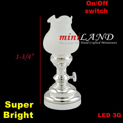 Tulip table LED LAMP Dollhouse miniature light battery on/off 1:12 SILVER bright