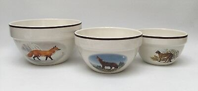 National Wildlife Federation American Wilderness set/3 Mixing Bowls Wolf Cougar