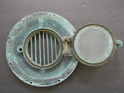 ANTIQUE SOLID BRONZE PORTHOLE signed GREGORY CANNON ST. NY