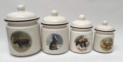 National Wildlife Federation American Wilderness Canister Set Moose Wolf Bear
