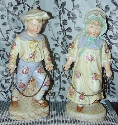 RARE ANTIQUE Figurines HEUBACH Statue BOY & GIRLS JUMPING ROPE