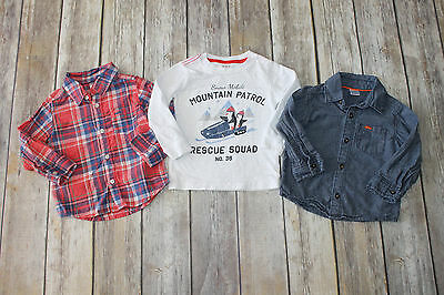 Carter's 18 mo red plaid chambray denim button up shirts white tee MML