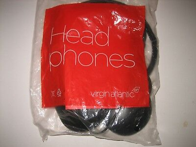 VINTAGE NEW Virgin ATLANTIC Airlines Padded HEADPHONES SEALED
