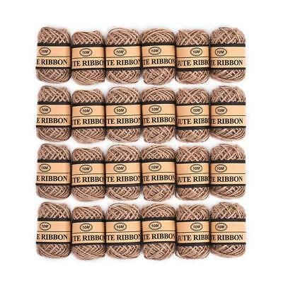 24x Jute Twine String Natural Ball Burlap Hessian Roll Cord for Crafts Gardening