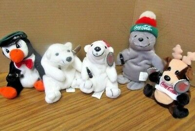 Coca-Cola Beanie Babies Lot Coke Collectibles Polar Bears / Penquin  Soda Plush