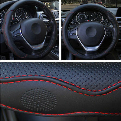 38CM Auto Car Steering Wheel Cover Protector Black Red PU Leather Non-slip Cover