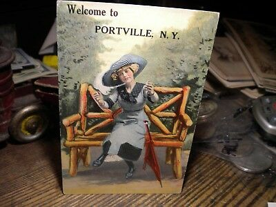 Scarce--1912- Welcome To Portville,n.y.-Postcard