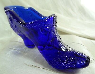 Bow and Scroll Lady's Glass Slipper Cobalt Blue Shoe Mosser Glass