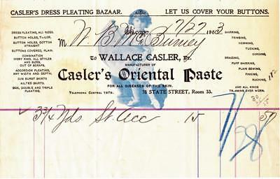 1903 Invoice Wallace Casler Manufacturer of Casler's Oriental Paste Chicago, Il.