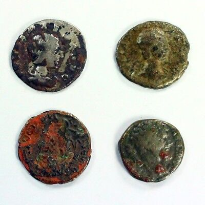 Four (4) Silver Ancient Roman Coins c.100 - 375 A.D. Exact Lot Shown 3111