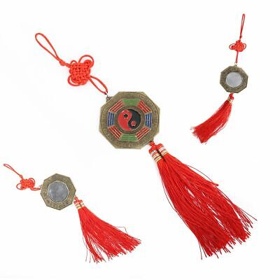 Chinese Feng Shui Bagua Mirror Good Luck Prayer Hanging Charm Red Home Decor