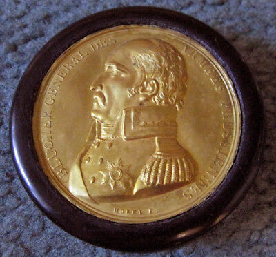 Antique Round Lacquered SNUFF BOX BLUCHER GENERAL DES ARMEES PRUSSIENNES 1800's