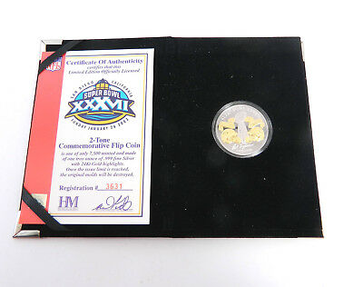Highland Mint Super Bowl 37 Flip Coin Buccaneers One Troy Oz Silver Coin #/7,500