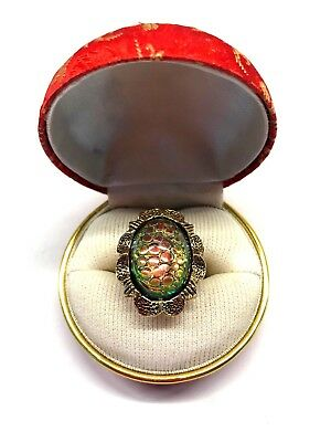 Vintage Textured Oval Glass Cabochon with Rainbow of Colors Ring