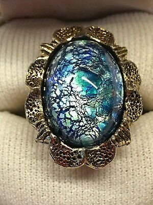 Vintage Shimmering Blue Green Foiled Glass Cabochon Gold Tone Ring