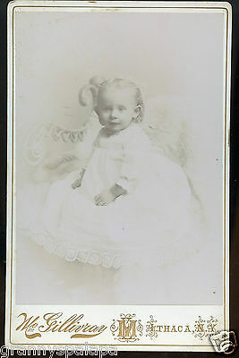 Cabinet Photo - Petite Baby in Long Gown Sitting, Ithaca, New York