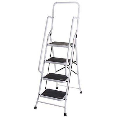 4 Step Ladder With Safety Handrail Foldable Safety Non Slip Matt Safe Heavy Duty