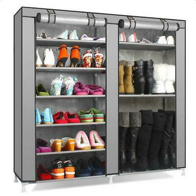 08498c314858 PORTABLE DOUBLE ROW Shoe Rack Large Storage Space Holder Cabinet with Shelf