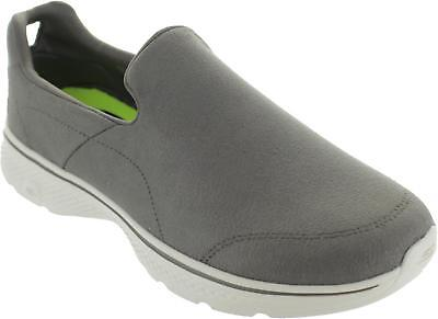 Skechers Gowalk 4 Remarkable Men's Grey Slip On Smooth Leather-tex Loafers New