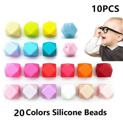 10Pcs Hexagon Silicone Teething Beads Baby Jewelry Chewable Necklace Teether BIN
